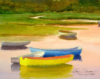 """Matted Water Color Reproduction Print """"Morning Skiffs"""""""