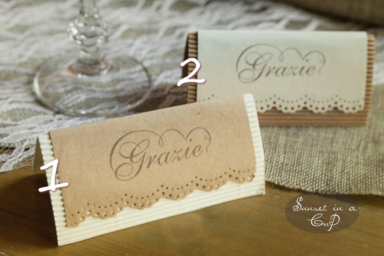 Segnaposto Matrimonio Rustico : Set di segnaposto rustici avorio e kraft matrimonio