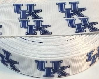 "University of Kentucky 7/8"" Grosgrain Ribbon - 5 Yards, NCAA Basketball"