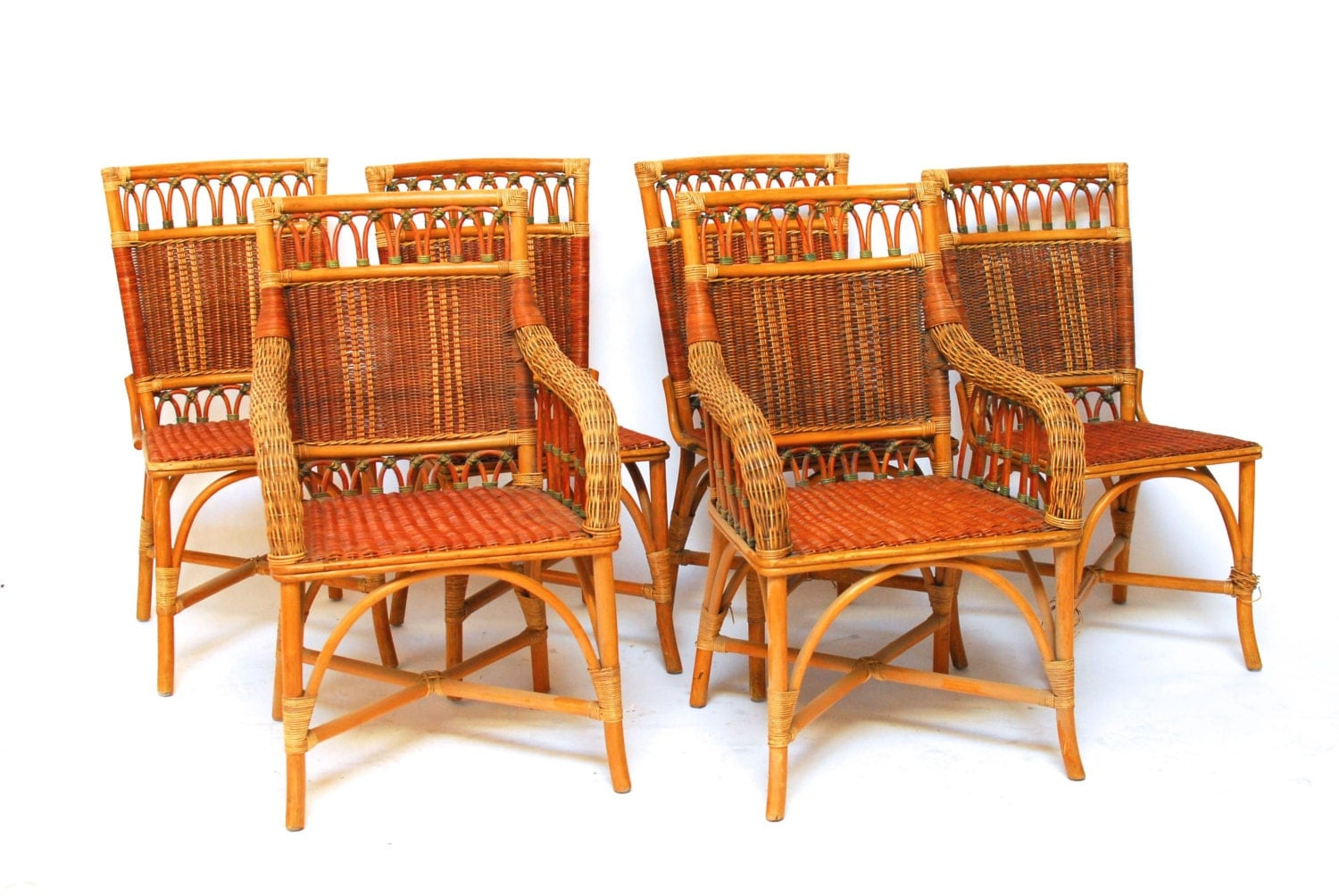 French Grange Wicker Dining Chairs Set Of 6 Haute Juice