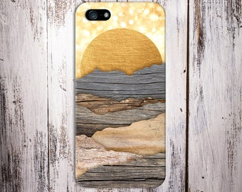 Golden Sun Rays Layered Handmade Wood Case, iPhone 7, iPhone 7 Plus, Tough iPhone Case, Galaxy s8, Samsung Galaxy Case Note 5, CASE ESCAPE