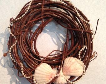 Mini Grapevine Wreath • Beach Decor • Scallops • Small Conch Shell • A Strand of Delicate Mini Pearls • Home Decor • Crafts by the Sea