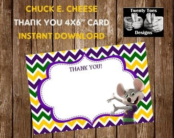 Chuck E Cheese Thank You Card, Instant Download