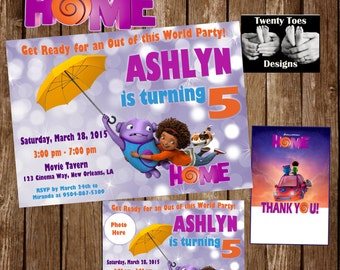 HOME MOVIE, Birthday Party Invitation, Personalized, Customized, Printable