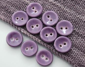 """10 Large Concave Transparent Violet Ceramic Buttons (27mm / 1.1"""")"""