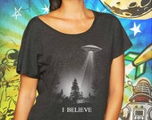 I Believe UFO Women's Vintage Black Dolman T-Shirt XFiles Tshirt