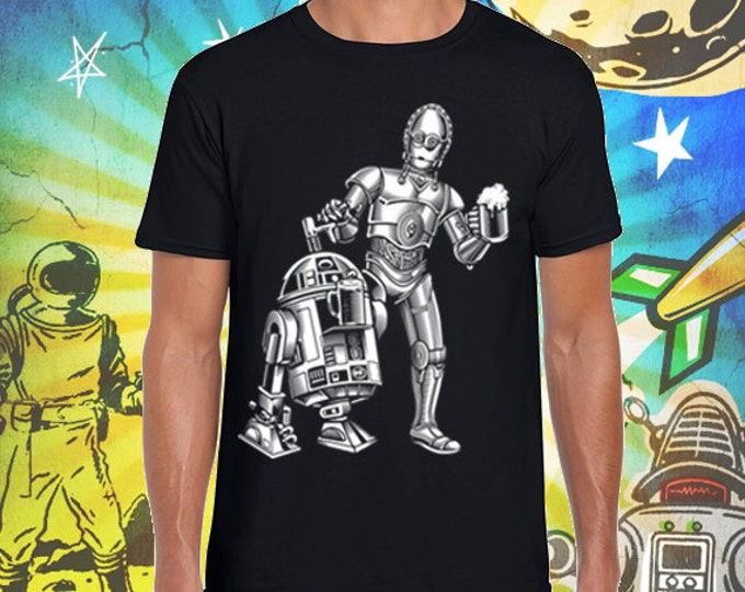 Star Wars R2 /  3PO Men's Jet Black 100% Ring Spun Cotton T-Shirt Dune Sea Cold Ones Star Wars Beer Tshirt