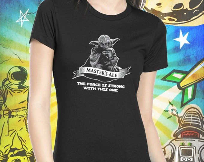 Star Wars Jedi Master Yoda's Ale Women's Jet Black Craft Beer T Shirt Star Wars Beer Tshirt