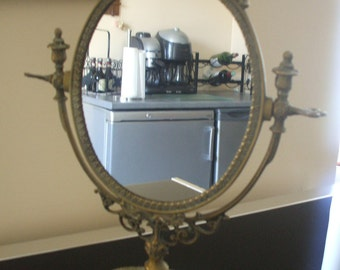 Antique French Ornate Bronze Mirror