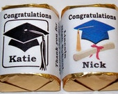 120 GRADUATION Candy Wrappers Favors personalized labels - MANY COLORS