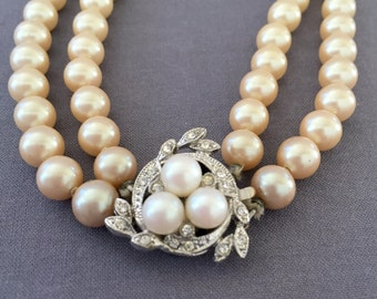 Vintage Double Strand Faux Pearl Necklace with Fancy Rhinestone & Pearl Clasp - Wedding, Bridal, Mother of the Bride, Bridesmaid