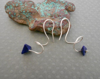 Sterling Silver Swirling hoop Earrings with Lapis Lazuli accent