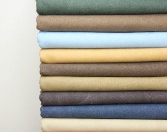 Canvas Fabric, 43 inch Width, Half Yard, 20oz Thick Solid Heavy Retro Vintage Style Washed Cotton Canvas Fabric