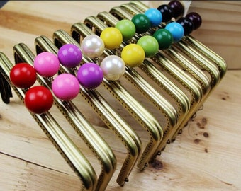 1 PCS of 15cm / 6 inch Solid Beaded Sew in Squared Bronze Metal Kisslock Purse Frame, 11 Colors