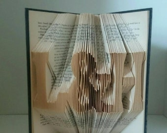 Initials or 3 Characters - Unique folded book art. Custom made with a word of your choice