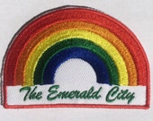 The Emerald City, Washington State, Visit Seattle, Retro, Rainbow, LGBT, Gay Pride, Iron on Patch, Vintage Inspired, Washington Tourism