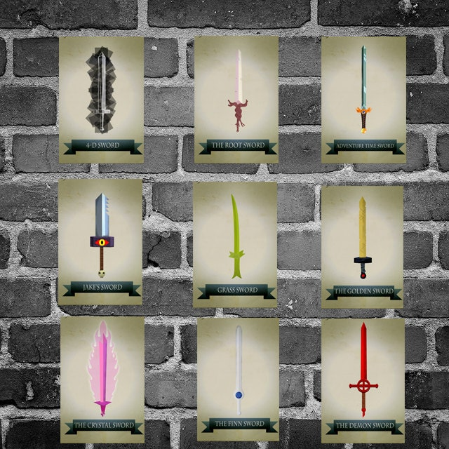 All 9 Adventure Time Sword Posters Movie Art Finn And Jake
