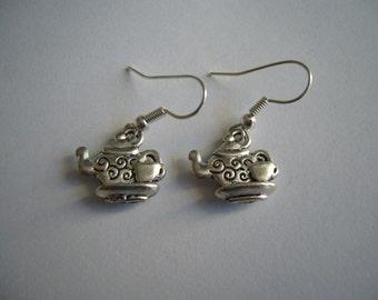 Tea Set Earrings - Antique Silver Tea Set Earrings - Tea Set Charm Earrings - Miniature Tea Set- Nickel Free