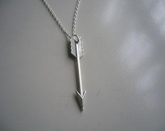 Arrow Necklace, Arrow Pendant Charm Necklace, Antique Silver Arrow Pendant Necklace, Nickel Free