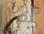 """Set (Necklace, Bracelet, and earrings) - """"Horses, Horseshoes and Crystals"""" - Clay pieces with leather, crystals and turquoise!"""