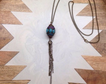 Boho necklace with hanging chain detail