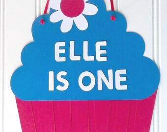 cupcake door sign, 1st birthday door sign, cupcake birthday party, 1st birthday party, cupcake baby shower, 4th of July birthday party