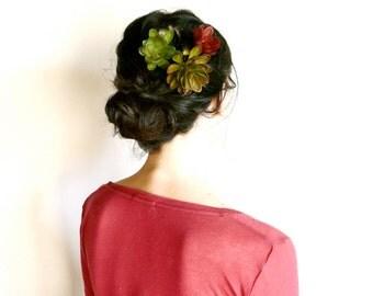 3 succulentes green plants hair clip  ( dance, hair garden )