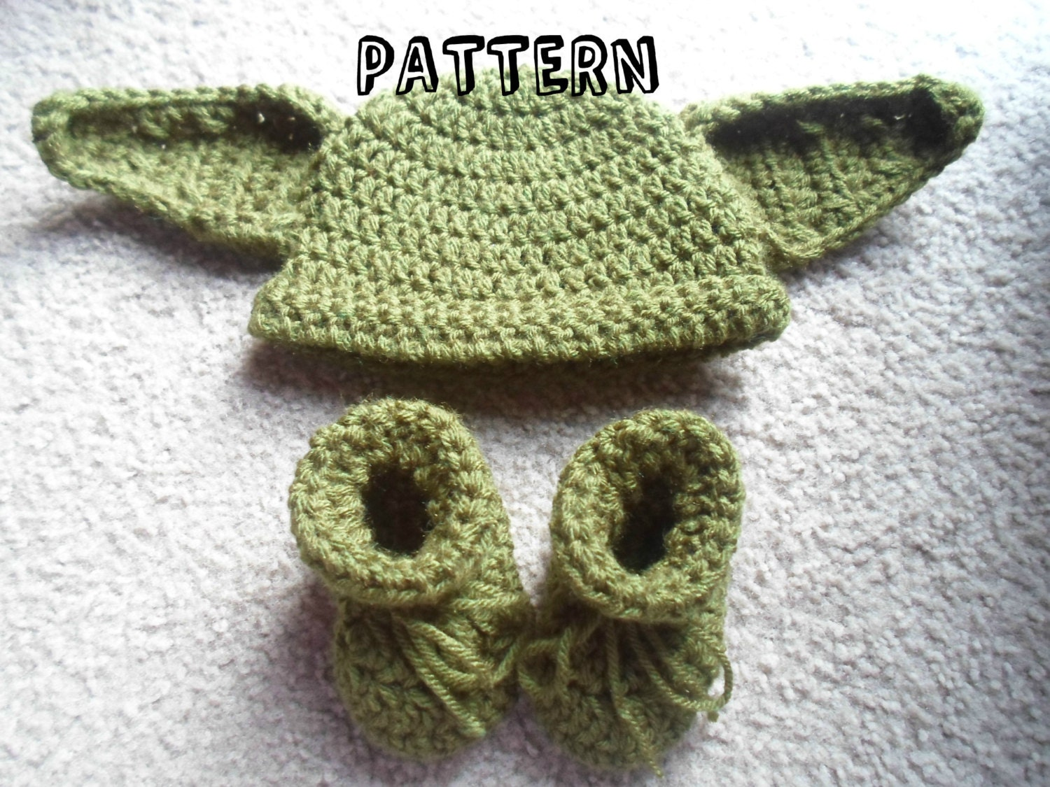 Crochet Pattern Yoda Ears : Crochet Pattern Yoda Hat and Booties PDF Instant Download