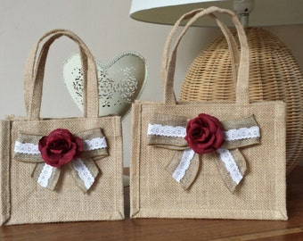 Beautiful hand finished Jute gift bag. Natural with Red Rose and Hessian and Lace Bow. Small or Medium size.