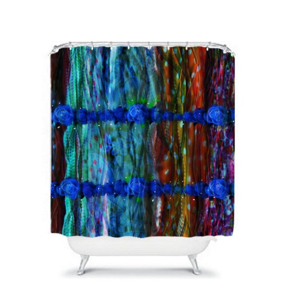 Shower Curtain Gypsy Layered Bohemian Blue Roses by FolkandFunky