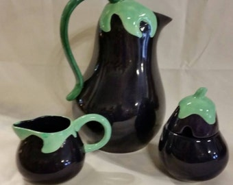 Eggplant pitcher with creamer and sugar