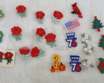 Mixed lot of 23 Tiny Vintage Embroidered APPLIQUES-Great for Doll Clothes
