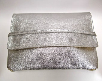 1960's Convertible Gold and Silver Mod Vinyl Clutch