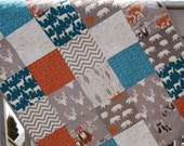 Baby boy quilt, woodland animals, hello bear, bear, buck, deer, foxes, raccoons, gray-grey-orange-teal
