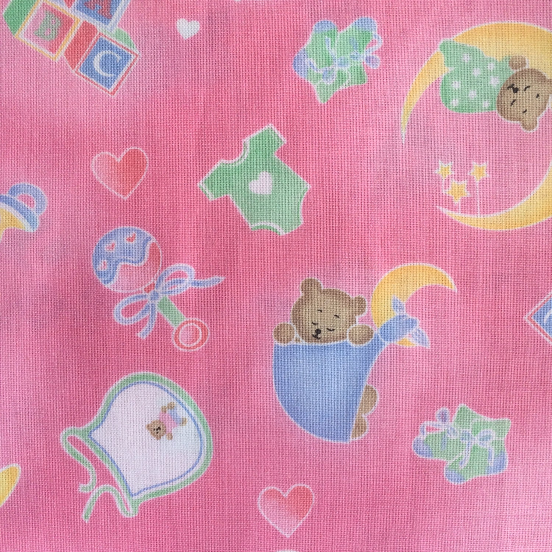 Half yard baby nursery pink background sleepy time by for Pink nursery fabric