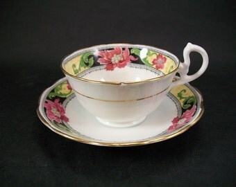 Vintage Crown China Teacup and Saucer Made in England
