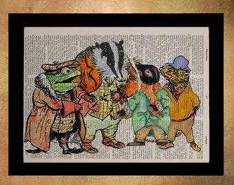 Wind in the Willows Dictionary Art Print Toad Badger Ratty Mole Gift Ideas Boys Room Nursery Art Girls Children da631