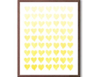 Hearts Watercolor, Baby Girl Nursery Art, Yellow Nursery Art, Baby Girl Nursery Decor, Hearts Decor, Wall Art, Girls Room Artwork - H103