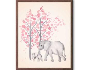 Elephant Art Print, Baby Girl Nursery Decor, Pink and Gray Nursery, New Baby Gift Baby Girl, Animal Wall Art, Elephant Nursery Art - E2401
