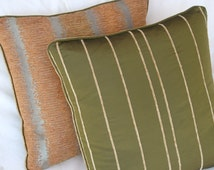 """Hawaii 20""""x 20"""" Large sage green chenille stripe cushion. Free delivery"""