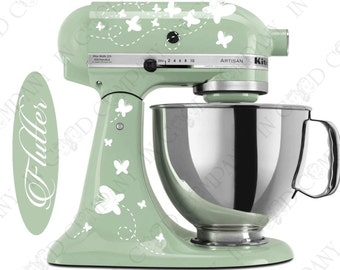 "Butterfly Print Decal Kit for your Kitchenaid Stand Mixer Plus a FREE Bonus Decal 6"" ""Flutter"" word decal"