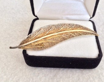 Lovely Crafted Antique / Vintage Portugal Filagree Sterling Vermeil Gold Wash Pin Brooch Signed Cartouche VG