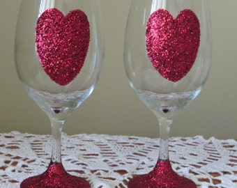 Valentine Wine Glasses, Glitter Wine Glasses,  Heart Glasses, Valentines Day, Wine Glasses, Love, Glasses, Valentines Day Decoration