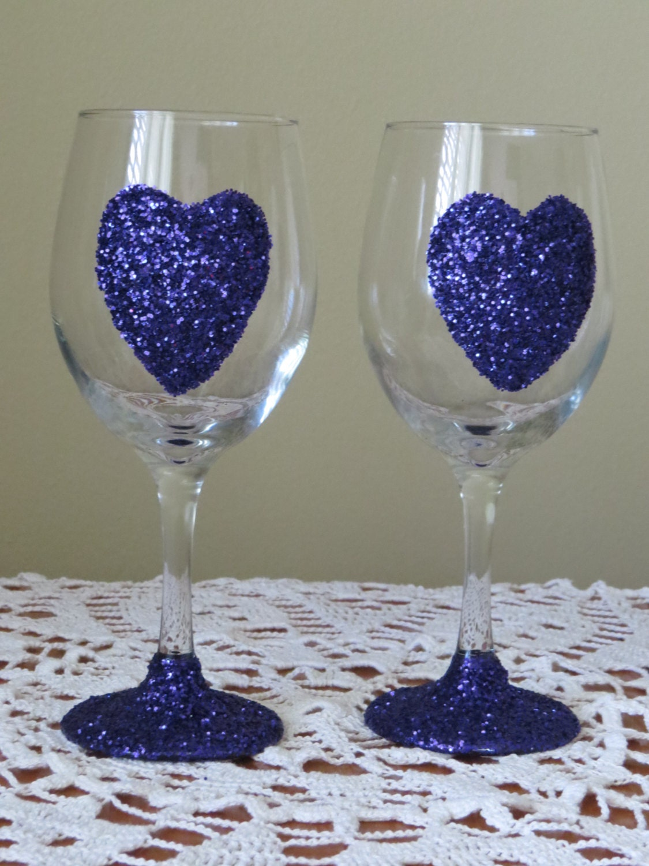 Hearts valentine wine glasses glitter wine glasses purple for Purple wine bottles for sale