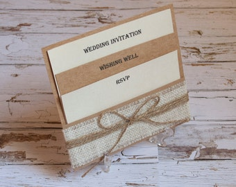 Rustic Burlap pocket wedding invitation set