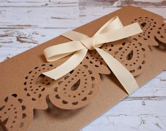 paisley gatefold wedding invitation