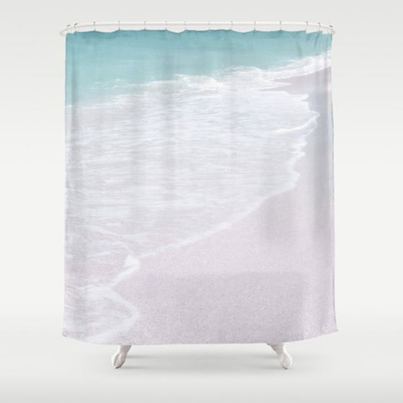 Coastal Shower Curtain Teal Amp White Bathroom Decor Shower