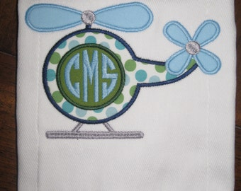 Monogrammed Helicopter Burp Cloth