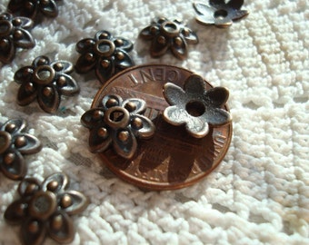 Reduced! 40 Ornate Copper Flower Caps. Old Penny Antiqued. 9x3mm. Lovely For Earring Dangles.  ~USPS Ship Rates -from Oregon
