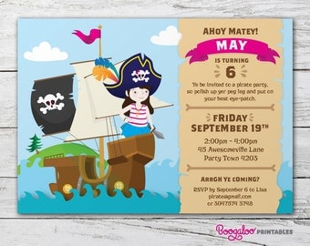 Pirate Party Invite – Printable Custom Invitation – Girls Party